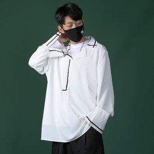 Men's Casual Shirts Dress Shirt Fashion Solid Color V-neck Pullover Men Streetwear Loose Korean Long-sleeved Mens M-5XL