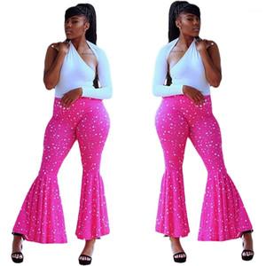Fashion Casual Female Clothing Womens Designer Wide Leg Pants Elastic Waist Dot Print Long Trousers Streetwear
