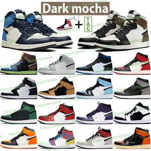 Nouveaux hommes 1S 1S Basketball Chaussures High Nomb Mocha Lumière Smoke Fumée Grey Obsidienne Unc Twist Chicago Shadow Royal Shadow Bred Toe Desert Sneakers