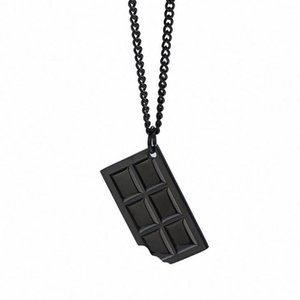 Stainless Steel Chocolate Sweets Pendant Necklace Dessert Chocolate Necklace with 60cm Chain Jewelry Gift For HIm