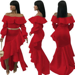 New Arrival Christmas Design Ruffled Big Wave Mermaid Dress Sexy Strapless Fashion Irregular Long Sleeve Party Dress Without Belt Free Shipp