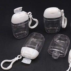 Key Ring Hook Transparent Bottle 30ML Plastic Refillable Hand Sanitizer Travel Separate Lotion Climbing Bottles New Arrival 1 2ph G2