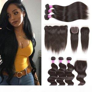Großhandel 10A Brasilianische Körperwelle Human Hair Bündel mit Verschlusszubehör Geraden Haarfunktionen mit Frontal Jungfrau Haarverlängerungen