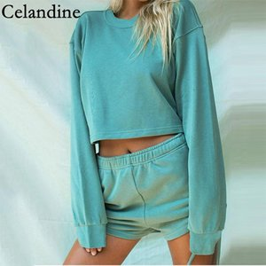 Celandine Loose Casual O Neck Two Piece Sets Women Long Sleeve Crop Tops And Drawstring Shorts Autumn 2020 Tracksuits Outfits