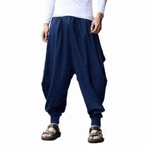 YJSFG HOUSE Brand Mens Hippie Hippie Hip Hop Llanura Aladdin Martial Harem Pantalones Pantalones Holidos Solos Pantalones con cordón Q1219