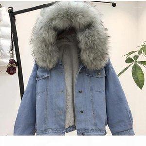 women jean jacket Winter Thick Jean Jacket Faux Fur Collar Fleece Hooded Denim Coat Female Warm Denim Outwea1