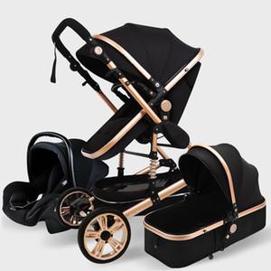 Cochecito de bebé de lujo 3 en 1 cochecito de aluminio portátil genuino de cochecito de aluminio plegable para recién nacido