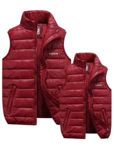 Men's Down Vests 4 Color Winter Jackets Men Fashion Sleeveless Solid Zipper Coat Overcoat Warm Vests Plus Size S-6XL