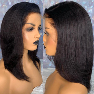 Blunt Cut Light Yaki Straight Short Lace Front Human Hair Wigs For Black Women Kinky Straight 360 Lace Frontal Wig