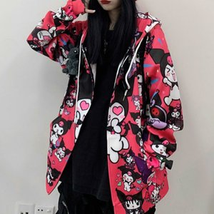 Manica lunga HOUZHOU Kuromi Felpa Moda Autunno Donne Kawaii Anime con cappuccio Vintage Carino Pullover Donne Pink Ladies Nero Top 201014