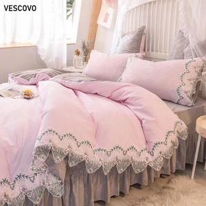 VESCOVO 100% algodón reina cama de encaje conjunto cubierta de la cama de lino Princess sábana ajustada sistemas de la falda