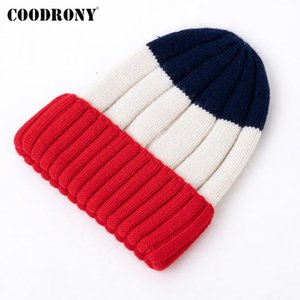 COODRONY Brand New Casual Streetwear Soft Wool Knitting Female Beanies Elegant High Quality Striped Women's Winter Hats P1004