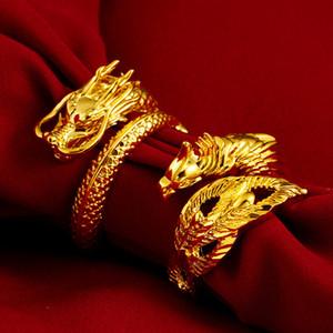 Vietnam anneau d'or de sable de dragon couple Phoenix paire anneau bouche anneau réglable sable gros bijoux en or