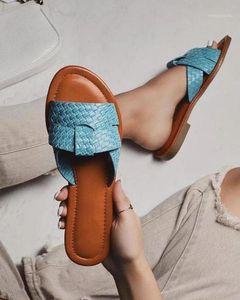 Women Slippers Summer Beach Slippers Flat sandals Blue Slip On Open Toe Women outdoor Slipper Shoes Woman sandals1