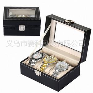 Vérifier et cadeau Case fente rouleau 3 Marque Montres Bijoux Collier Montre en cuir Bracelet boîte Sac Montre Boîte de rangement en ligne Coffret Fro 2eBZ #
