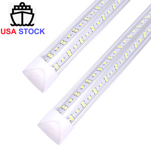 T8 V shaped 8ft led tube lights integrated 8 foot cooler door lighting 144W Six row shop lights tubes fluoresc Free Shipping