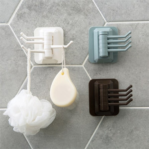 Solid Color Hook Multi Function Sticking Rotatable Towel Pylons Wallhanger Accessories Holder Kitchen No Drilling Trace New Arrival 1 8yl K2