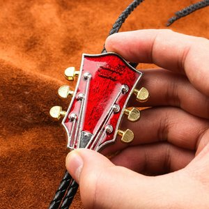 Vintage Western Cowboy Mens BOLO Tie Slide Clip Red Guitar Head PU Leather Rope
