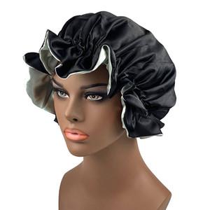 New Mulheres Double Layer cetim Bonnet Duche Cap Lady Moda Head Cover sono Chapéus cabeleireiro Beanie