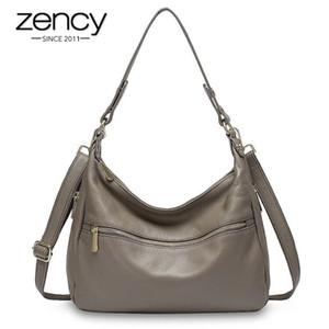 ZENCY роскошные женщины сумка на плечо 100% натуральная кожаная сумка сумка большая емкость HOBOS мода леди Crossbody кошелек черный серый
