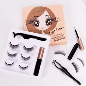Magnetic False Eyelashes for Women with Liquid Eyeliner Lashes Set Lasting Makeup Extension Thick Crisscross Tools Natural U1s0