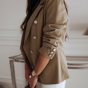 Women Double-breasted Buttons Long Sleeve Jacket Suit Ladies Casual Office Coat Notched Slim Fit Suit Business Autumn New Outer