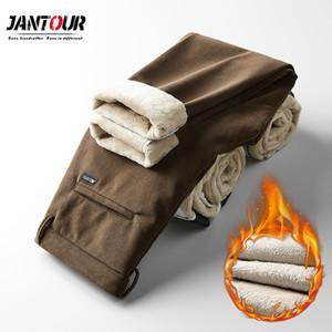 Jantour marca invierno vellón pinzas corduroy pantalones de negocios casual moda estiramiento tercoso terciopelo gris pantalón grande tamaño 28-40 F1225