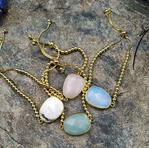 Cadeia Opal Turquoises Amazonites Rose Quartzs Pedra Connecter ouro Tennis ajustável Bracelet M0056