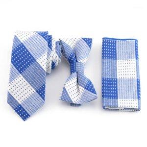Мужские сапфировые белые галстуки 3 шт. Набор звезд Звезды Боути и платок Хлопковые галстуки Аксессуары для мужчин Мода встреча галстуки Blue1