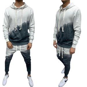 Erkek Bahar Sonbahar Rahat Takım Elbise Spor Kapşonlu Tişörtü + Uzun Pantolon Harajuku Kontrast Renk 3D Degrade 2 adet Setleri