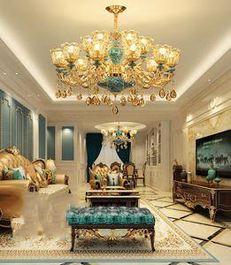 Современный европейский стиль светодиодные хрустальные люстры люстры простая атмосфера синяя керамическая люстра освещения спальни хрустальные подвесные светильники