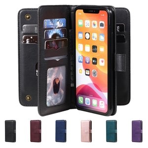 10 Card Slots Multifunction Flip Leather Case For iphone 12 11 Pro Max XS XR 6 7 8 Plus For Huawei Wallet Magnetic Leechee Stand Phone Cover