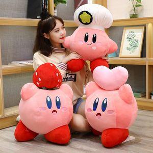 게임 Kirby Adventure Kirby Plush 장난감 요리사 딸기 스타일 소프트 인형 어린이를위한 동물 장난감 생일 선물 홈 장식