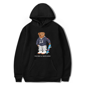 kapşonlu hip hop DYDHGMC219 baskı Erkekler ve Kadınlar Sokağı tarzı polo Kaykay ayı moda mavi kapüşonlu kış pamuk ayı