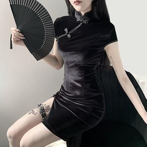 Goth mujer oscura vestido cheongsam estilo chino flaco mini vestido calle sexy vintage harajuku verano ropa de verano Slim 2020 Y0118