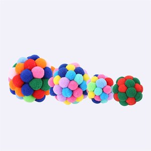 Cats Kitty Elastic Balls Handmade Fun Flexible Cotton Small Bell Ball Colorful Cat Pets Toy Supplies New Arrival 3 8si M2