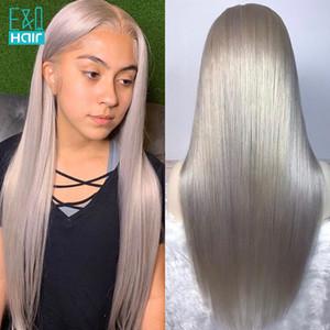 Pelucas de cabello humano gris Remy brasileño Parte recta de encaje frente Pelucas de cabello humano para mujeres negras Cuerda Bob corta Cierre de encaje Peluca 180%