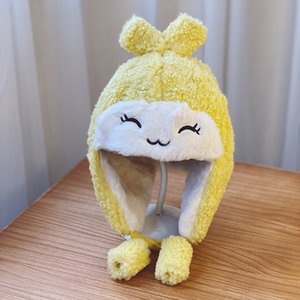 Caluriri 3-7 Jahre Kinder-Baby-Winter-Trapper-Hut-Mädchen Nettes Ohr-Kappen-Koreaner plus Samt-Warm-windundurchlässiges Faux Fur Kid Hut