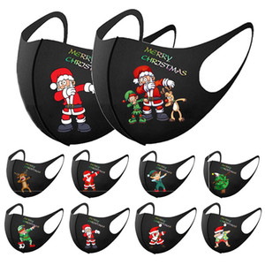Merry Christmas designer mask kids face mask adult black printing masks children 3D dust-proof knitted mask individually wrapped