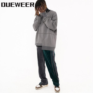 Dueweer Man Streetwear Çizgili Kadife Hip Hop Colorblock Kadife Parça Pantolon Erkekler Kadınlar Ayak Bileği Fermuar Gevşek Rahat Sweatpants