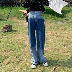 Acinewords Cintura alta Blue Gradient Cor Vintage Jeans Mulheres Solta Streetwear Calças de brim Coreano Plus Size Casual Basic Straight