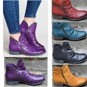 Womens Retro Winter Boots Platform PU Leather Shoes Double Sides Zipper Motorcycle Boot Chunky Sole Mid Calf Waterproof Shoes US6-12 LY10192