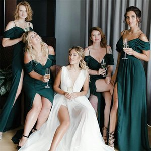 2021 Vintage Green Bridesmaid Dresses Chiffon High Split Off the Shoulder Spaghetti Straps Floor Length Maid of Honor Gown vestidos