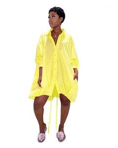Drawstring Dresses Single Breasted Shirt Dresses Womens Designer Casual Soild Color Womens Dresses Fashion Lepal Neck Loose