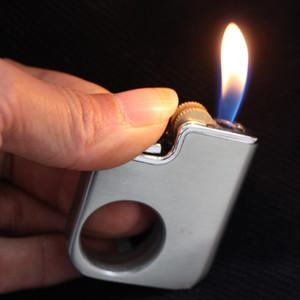 Mini Yaratıcı Yüzük Çakmak Bütan Doldurulabilir Metal Çakmak Parmak Yüzük Taş Aksesuar Hediye Sigara Şeklinde