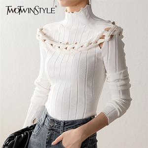 Twotwinstyle Slim Büküm Kink Kazak Kadınlar Için Balıkçı Yaka Uzun Kollu Oymak Seksi Örme Kadın Moda Yeni Giyim Tops 20123