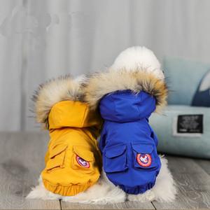 Winter Dog пуховики ветрозащитный Теплый меховой воротник Pet пальто чихуахуа игрушечный корги Bulldog шнауцеры Животные Outerwears