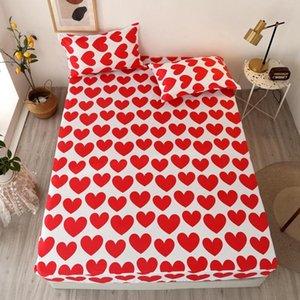 Bonenjoy 3 pezzi foglio letto montato con cassa cuore rosso stampato colore bianco Drap Housse 180x200cm foglio su elastico