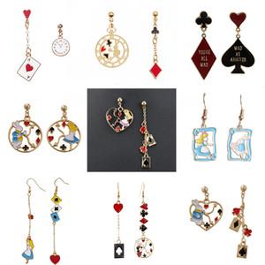 Alice Wonderland Princess Rabbit Bunny Asymmetric Drop Earring Clock Poker Card Enamel Women's Earrings Fashion Jewelry for Girl
