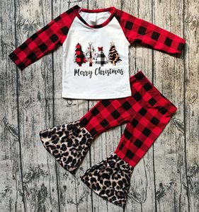 Christmas Girls Outfits Leopard Plaid Patchwork Toddler Long Sleeve Tops + Flared Pants Two Pieces Sets Children Clothes Set Xmas Clothes